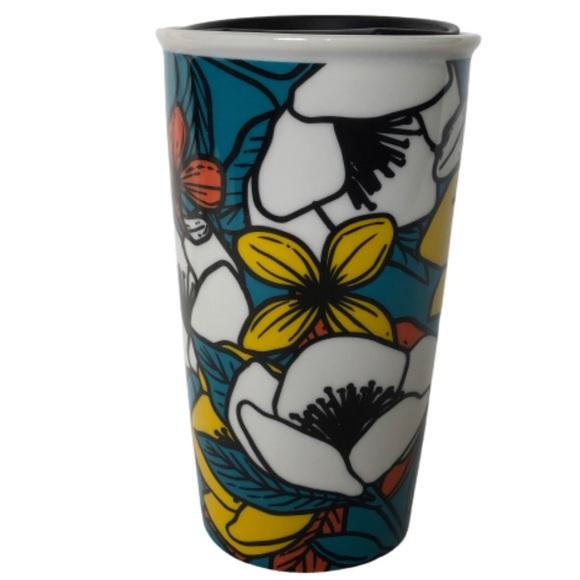Starbucks Teal Poppy Flower Travel Coffee Mug Lid